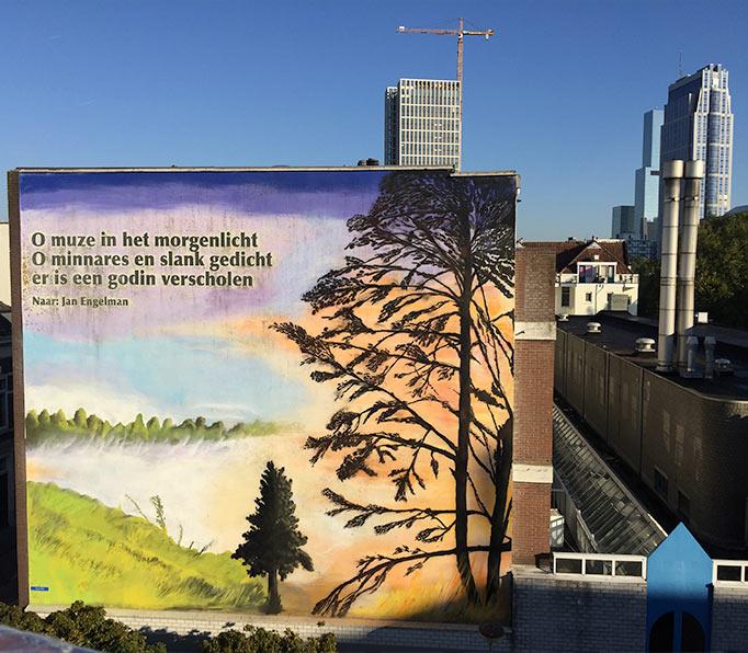 Muurschildering rotterdam natuur